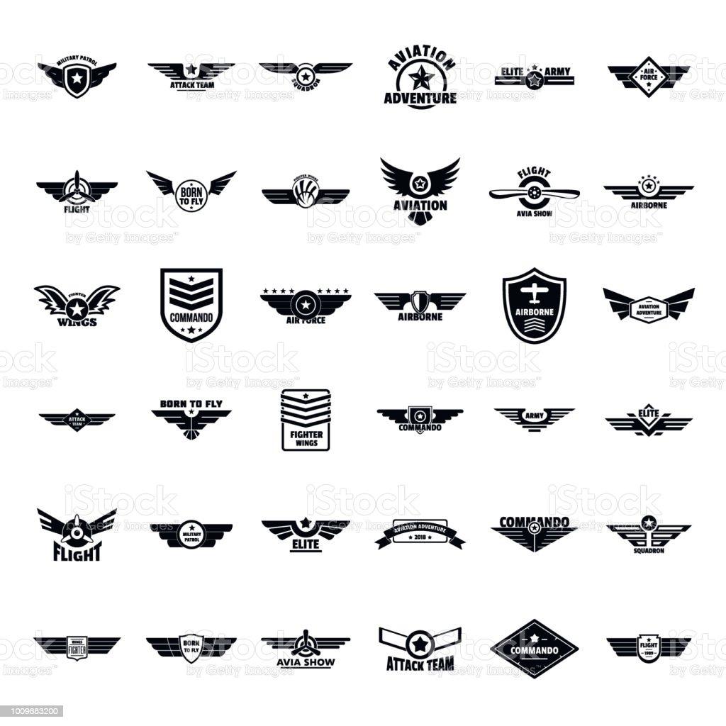 Força aérea exército emblema logotipo conjunto de ícones, estilo simples - ilustração de arte em vetor
