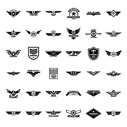 Airforce Army Badge Logo Icons Set Simple Style Stock Illustration - Download Image Now