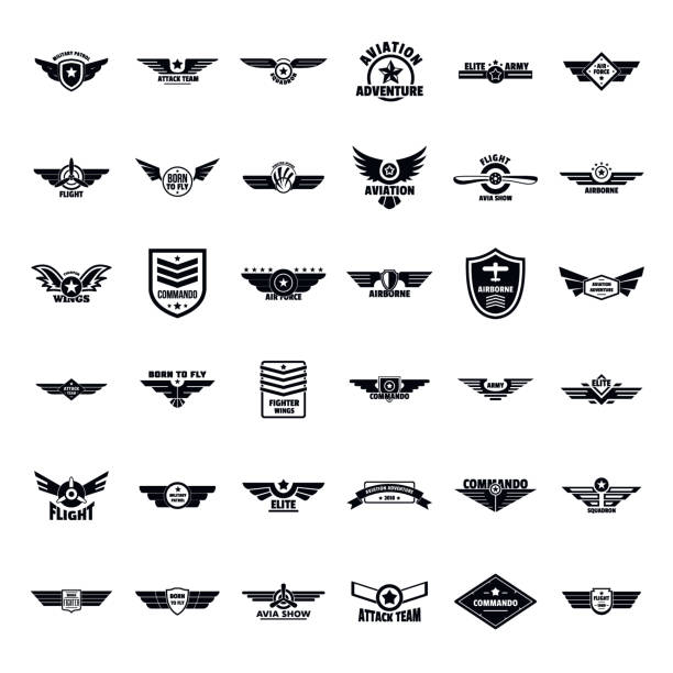 Airforce army badge logo icons set, simple style Airforce military army badge logo icons set. Simple illustration of 36 airforce military army badge logo vector icons for web air force stock illustrations