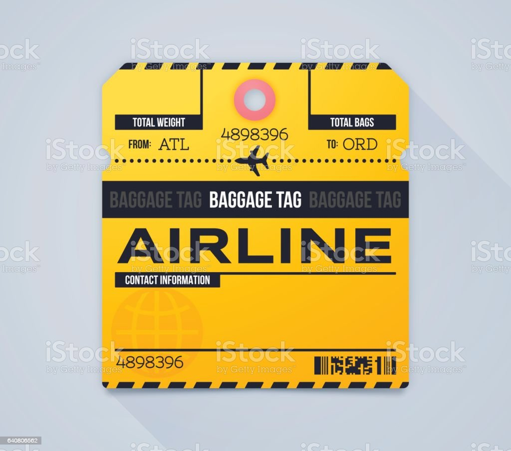 Airline Baggage Claim Tag vector art illustration