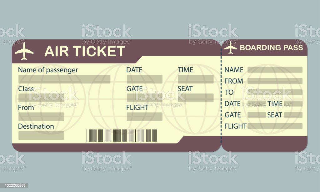 Airline Boarding Pass Ticket Template Detailed Blank Of Airplane