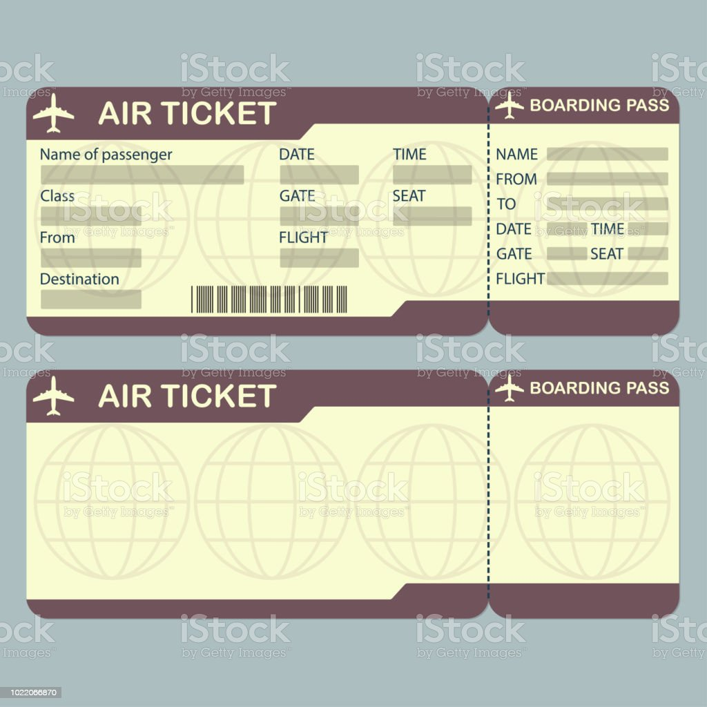 Airline Boarding Pass Ticket Template Detailed Blank Of Airplane Vector Illustration Royalty