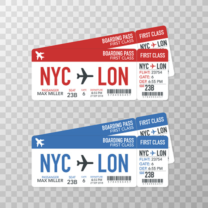 Airline boarding pass tickets to plane for travel journey. Vector illustration.