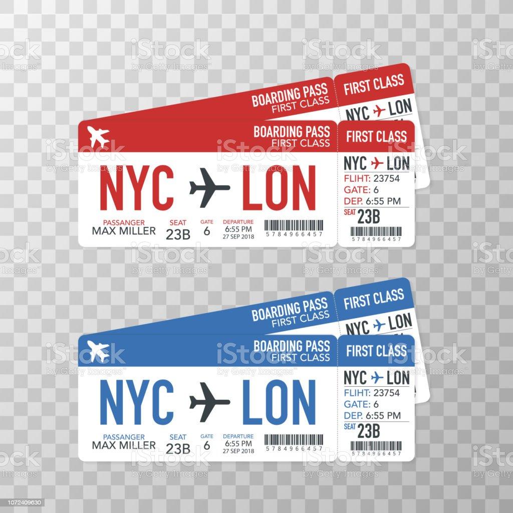 Flygbolaget boarding pass biljetter till planet för resa resa. Vektorillustration. vektorkonstillustration