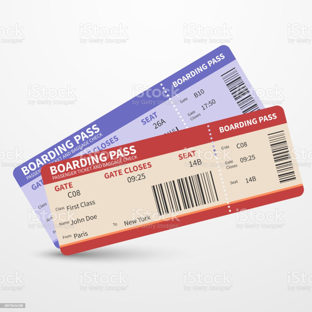 Airline Boarding Pass Tickets Vector Travel Journey Concept Stock ...