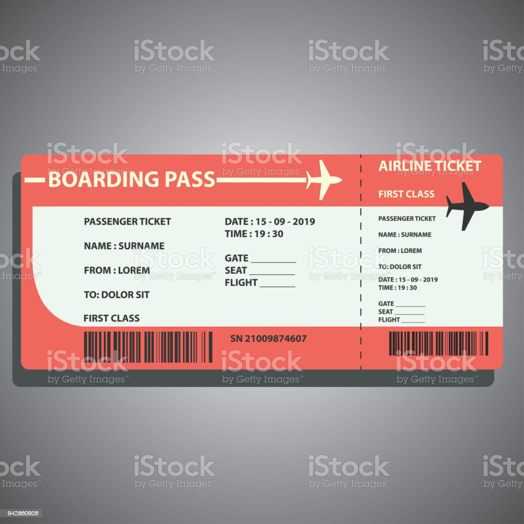 airline boarding ticket for traveling by plane. vector illustration