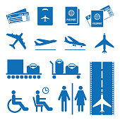 Airline colourless signs set. Passports and tickets, airplane flying, baggage