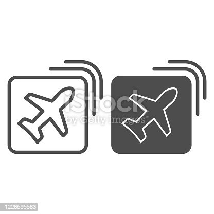 istock Airline emblem line and solid icon, travel concept, Plane in square shape sign on white background, Flying airplane in icon in outline style for mobile concept and web design. Vector graphics. 1228595583
