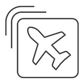 istock Airline emblem thin line icon, travel concept, Plane in square shape sign on white background, Flying airplane in icon in outline style for mobile concept and web design. Vector graphics. 1228658477