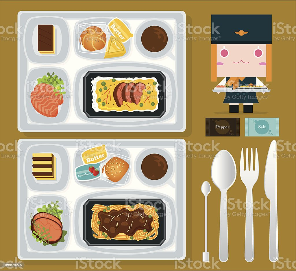 Airline Food royalty-free stock vector art