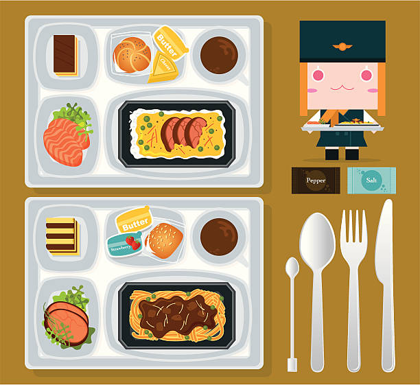stockillustraties, clipart, cartoons en iconen met airline food - gemaksvoedsel
