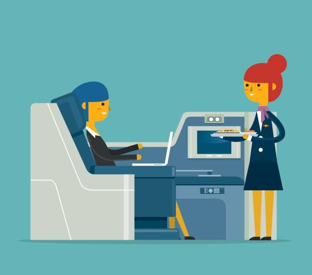 Mahlzeit Flugdienst - Geschäftsfrau – Vektorgrafik
