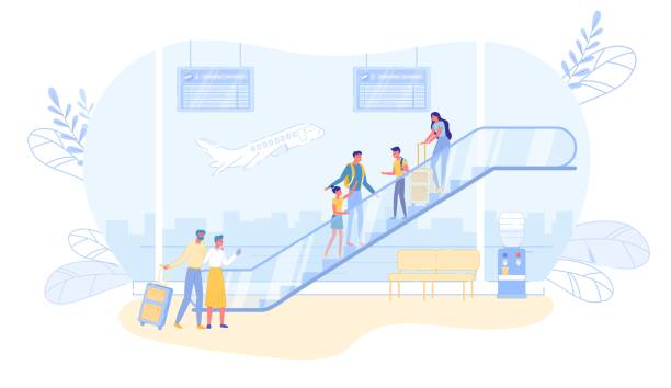 Airline Passengers Characters Stand on Escalator. Airline Passengers Cartoon Characters Standing on Escalator. Travelers and Tourists in Flight Departures or Arrivals Hall with Information Boards and View on Airfield. Flat Vector Illustration. airport silhouettes stock illustrations