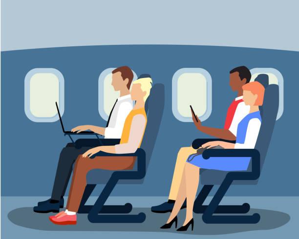 fluggäste auf dem flugzeug vektor flache abbildung - fahrzeugsitz stock-grafiken, -clipart, -cartoons und -symbole