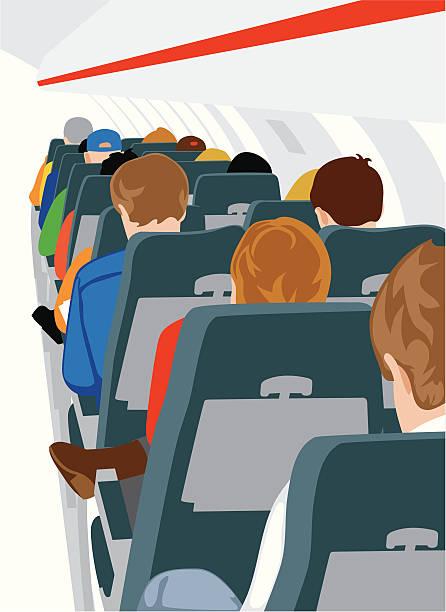 illustrazioni stock, clip art, cartoni animati e icone di tendenza di passeggeri delle compagnie aeree - sedili aereo