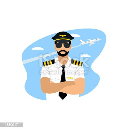 Airline pilot in sunglasses and uniform against the blue sky and an airplane. vector illustration