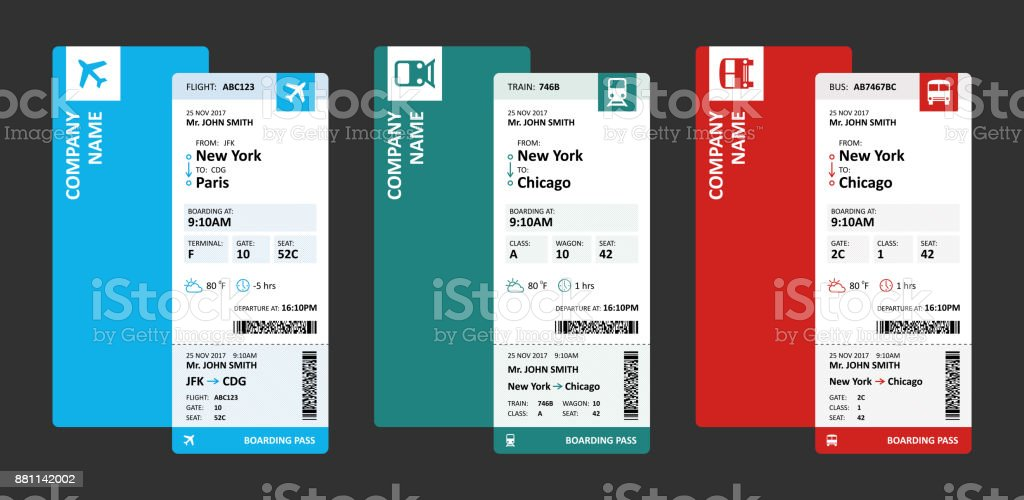 Airline, Railway and Bus Tickets or Boarding Passes for Travelling - Vector Illustration