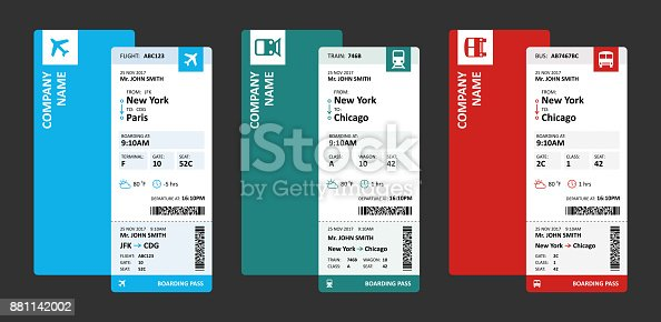 istock Airline, Railway and Bus Tickets or Boarding Passes for Travelling - Vector Illustration 881142002