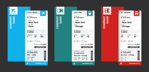 airline, railway and bus tickets or boarding passes for travelling - vector illustration - tickets and vouchers templates stock illustrations