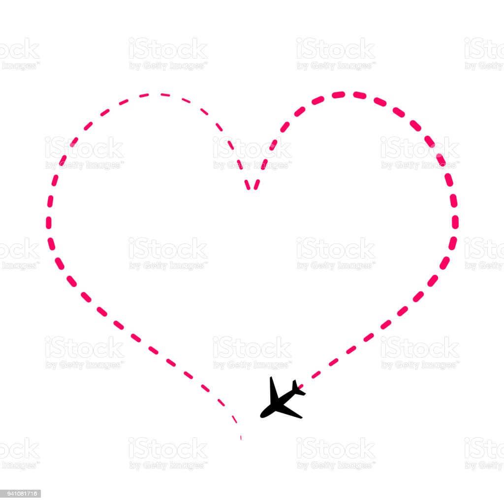 Airline Route In Pink Heart Shape With Plane Icon Isolated