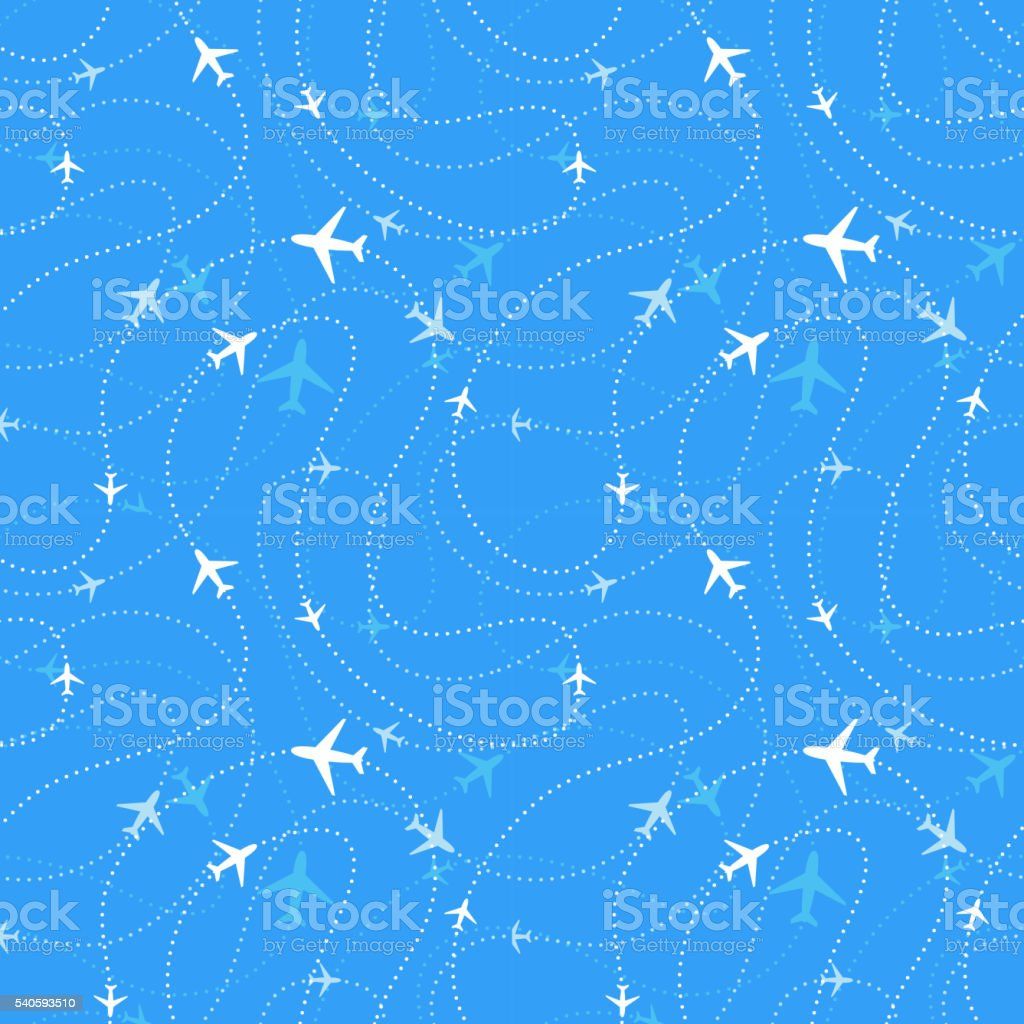 Airline routes with planes in blue skies, seamless pattern vector art illustration
