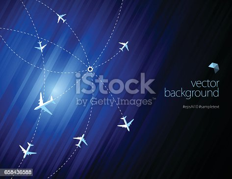 istock Airline routes with planes on blue color background 658436588