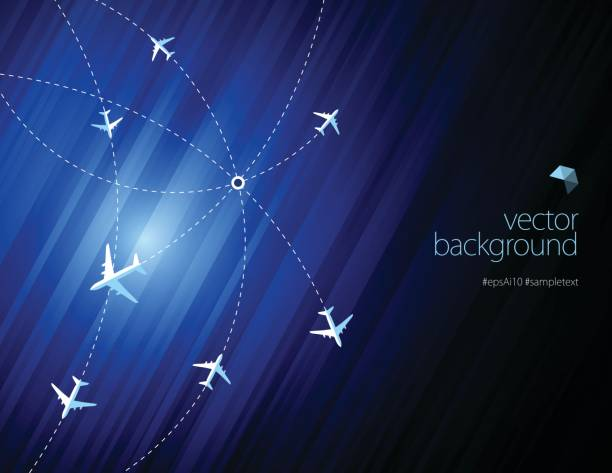 Airline routes with planes on blue color background Vector of white color planes with airline routes on blue color background. EPS ai 10 file format. airport backgrounds stock illustrations