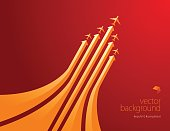 Vector of orange color planes with airline routes on red color background. EPS ai 10 file format.