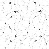 Airline routes with planes icons on white, seamless pattern