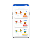 Airline services app smartphone interface vector template. Mobile flight tickets booking app page white design layout. Cheapest, shortest tickets screen. Flat UI last minutes flights application