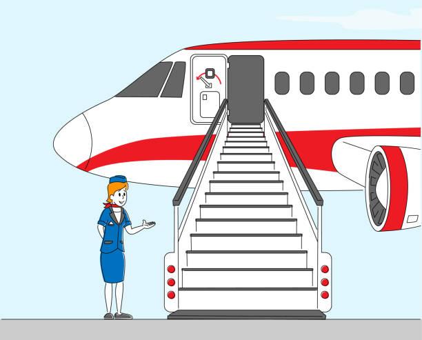 stockillustraties, clipart, cartoons en iconen met airline staff stewardess karakter, stewardess, air hostess girl het dragen van uniform en cap uitnodigende passagiers op vliegtuig boarding. vertrek naar bestemmingsplaats. lineaire vectorillustratie - stewardess