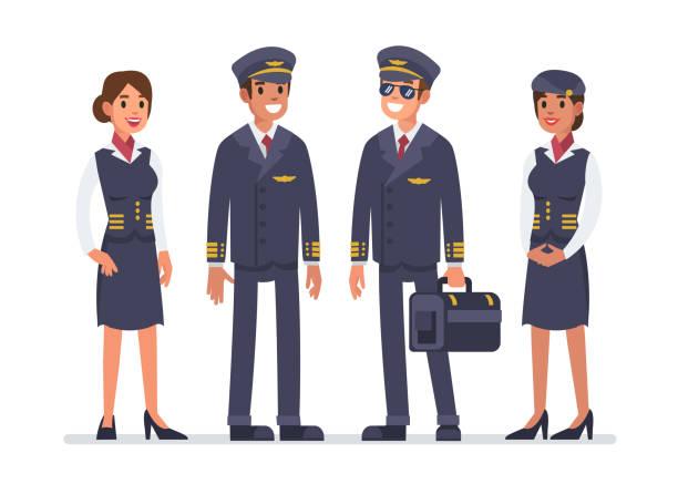 stockillustraties, clipart, cartoons en iconen met luchtvaartpersoneel - stewardess