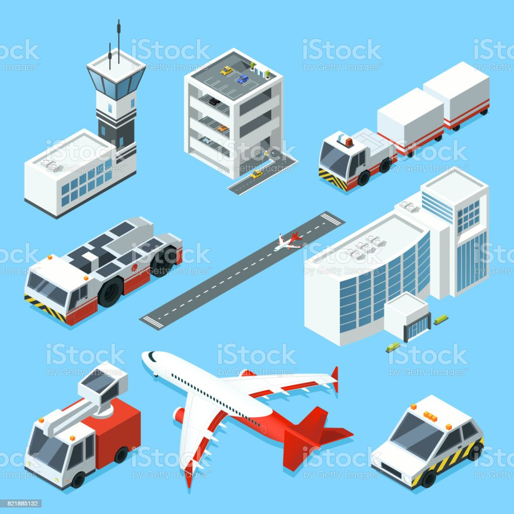 Airline terminal, aero tower, airplane and different support machines of airport vector art illustration