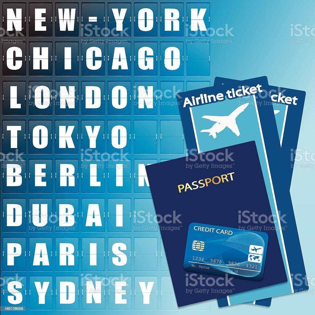 Airline ticket, credit card and passport vektorkonstillustration