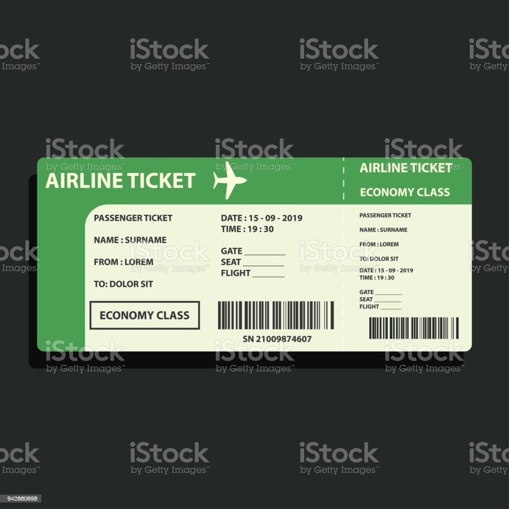 airline ticket for traveling by plane. vector illustration