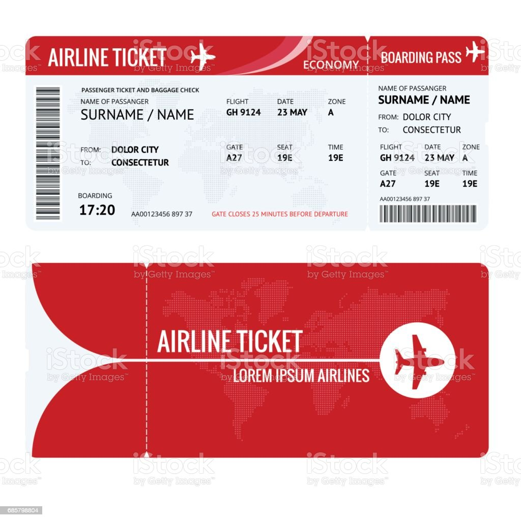 Airline Ticket Or Boarding Pass For Traveling By Plane Isolated On ...