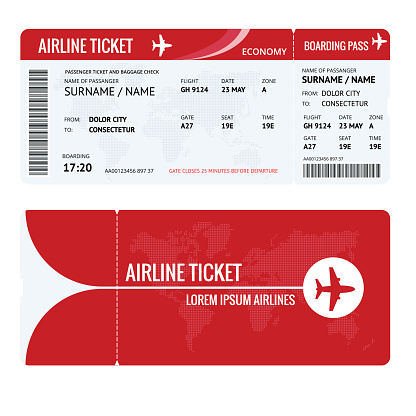 Airline ticket or boarding pass for traveling by plane isolated on white. Vector illustration.