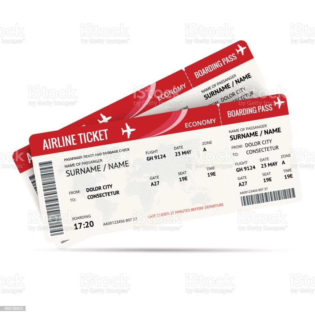 Flugticket oder Bordkarte für das Reisen mit dem Flugzeug isoliert auf weiss. Vektor-Illustration. – Vektorgrafik
