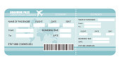 Airline ticket or boarding pass for traveling by plane. Vector illustration