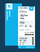Airline Ticket or Boarding Pass for Travelling by Plane - Vector Illustration