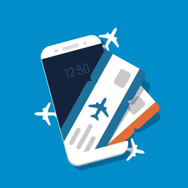 Airline tickets on smartphone screen Airline tickets on smartphone screen. Concept for buying tickets online. Vector illustration in flat style. airplane ticket stock illustrations