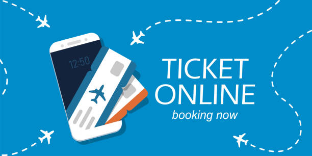 Airline tickets on smartphone screen Airline tickets on smartphone screen. Concept for buying tickets online. Vector illustration in flat style. airport backgrounds stock illustrations