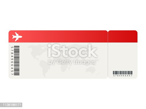 istock Airline tickets or boarding pass inside of special service envelope. Vector illustration. 1126195171