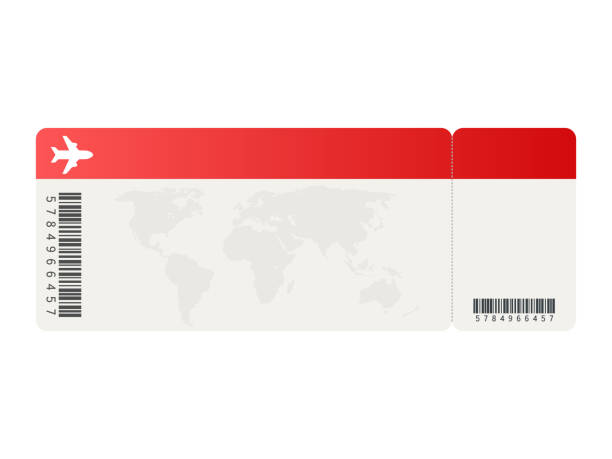airline tickets or boarding pass inside of special service envelope. vector illustration. - tickets and vouchers templates stock illustrations