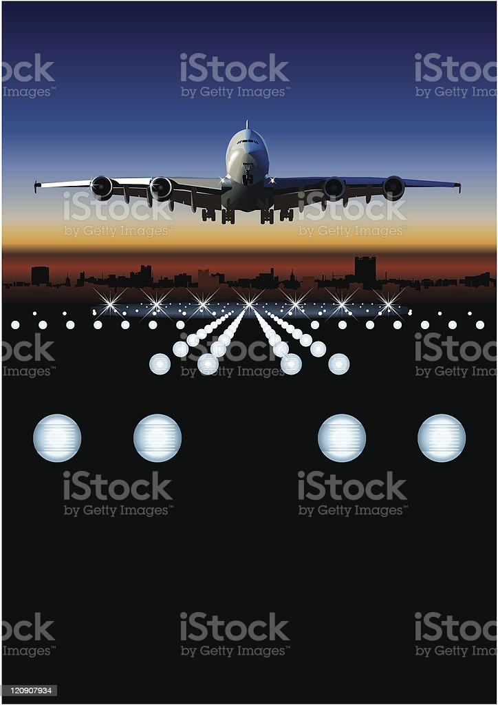 Airliner at sunrise vector art illustration