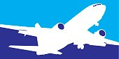 Vector illustration of a white and blue jet airliner icon.