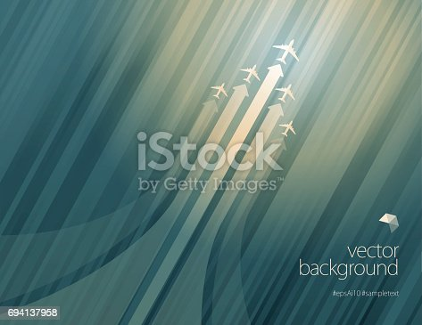 istock Airliner in action on green color background 694137958