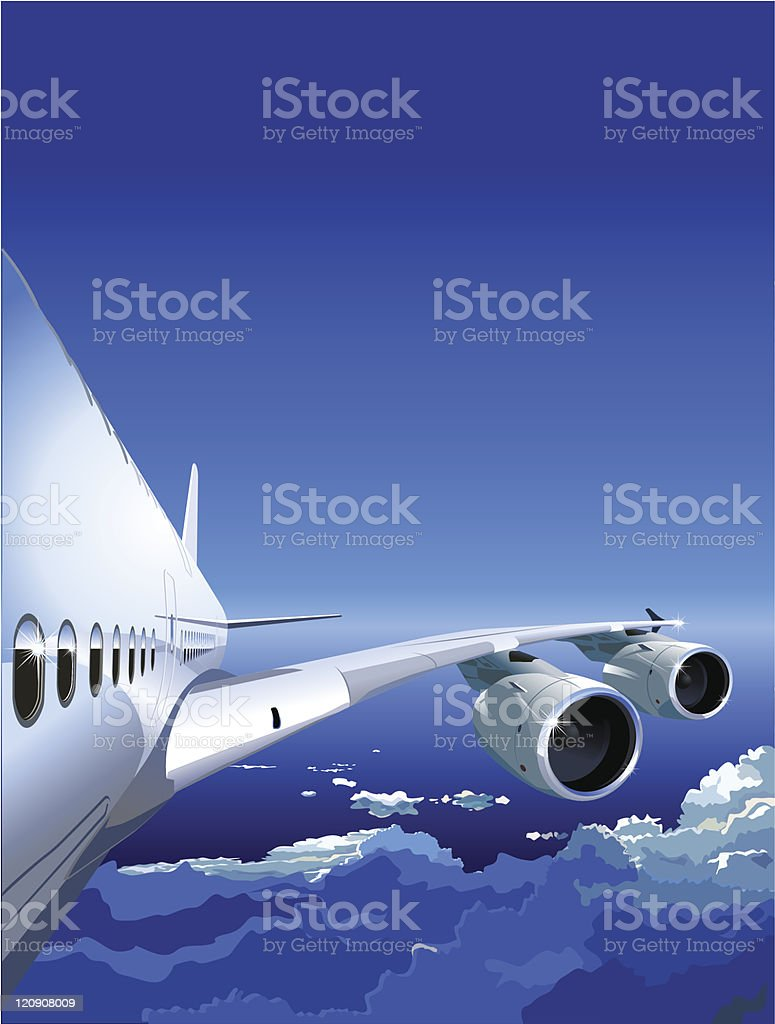Airliner in the Sky royalty-free stock vector art
