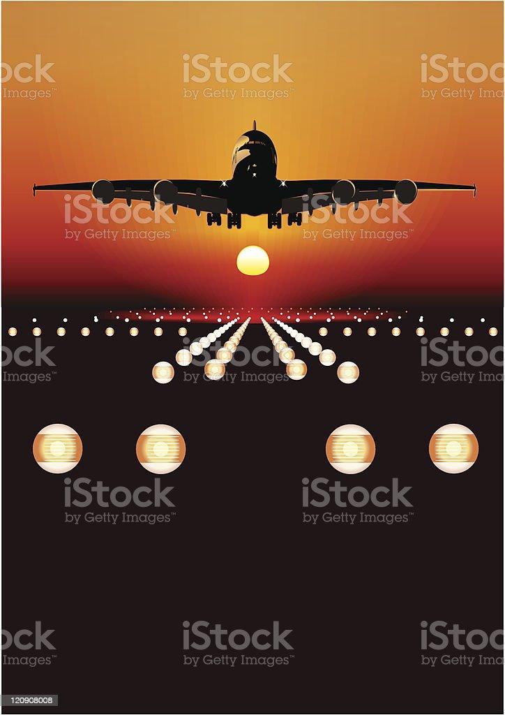 Airliner landing at sunset vector art illustration