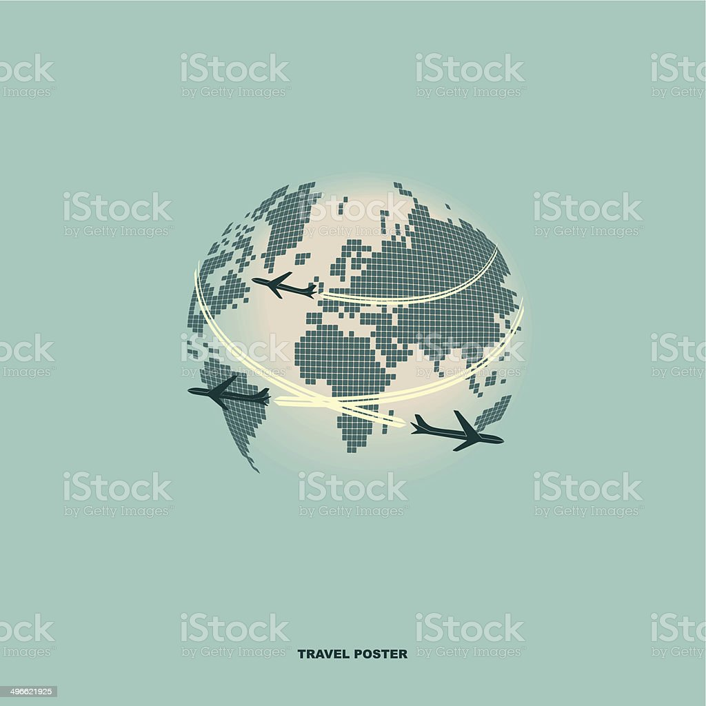 Airliner on world map background retro poster stock vector art airliner on world map background retro poster royalty free airliner on world map background gumiabroncs Choice Image